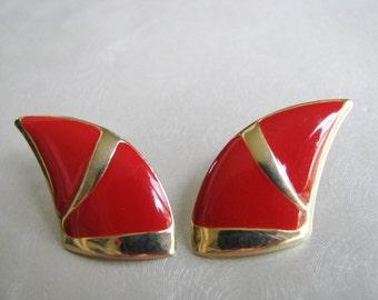 Red Earrings with Goldtone Trim - Bold Red Post Earrings - Vintage Stud Earrings