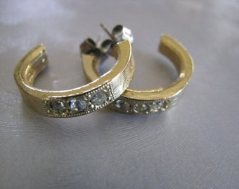 Small Stud Hoop Earrings - Gold Plated Post Earrings with embedded Crystals