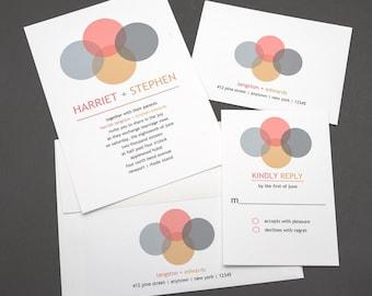 Modern Wedding Invitation, Contemporary Wedding Invitation, Orange and Gray Wedding, Sleek, Chic Wedding Invitation, Simple Wedding