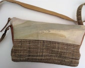 Painted Canvas and Linen Clutch with Cross Body Leather Detail OOAK
