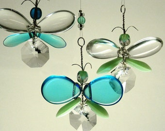 Blue Butterfly Crystal Mobile Suncatcher Children's Hanging Mobile Angel Ornament Fairy Window Charm Kid's Hanging Decoration Unique Gift