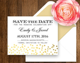 Printable Save the Date Gold Confetti Glam Girly Weddings Save the Date Postcard Template DIY INSTANT DOWNLOAD Editable file - print at home