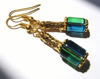 Emerald Green and Blue Glass Cylinder Gold Filigree Earrings