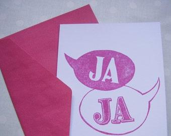 card »ja ja« for wedding, german wedding card
