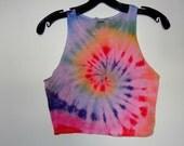 Rainbow Tie Dye Crop Shirt