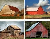 Group of Four Barn Photos, Architectural Photography, Building Photos, Farm Structures, Barn Print, Wall Art, Home Decor
