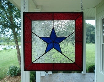 Stained Glass Window Panel Blue Star