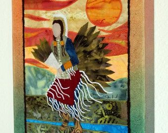 Native American Traditional Dancer, landscape, art quilt on canvas, home decor