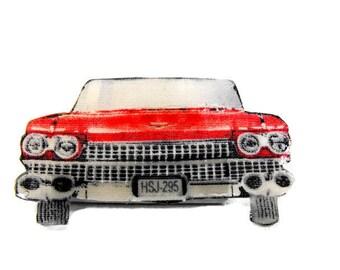 Vintage Caddy Brooch - Mid Century, Modern, Kitch, Pin, Jewelry, Retro, '59 Cadillac