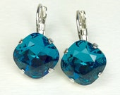 Swarovski Crystal 12MM Cushion Cut Lever- Back -Drop Earrings - Designer Inspired - Indicolite - On SALE 20. FREE SHIPPING