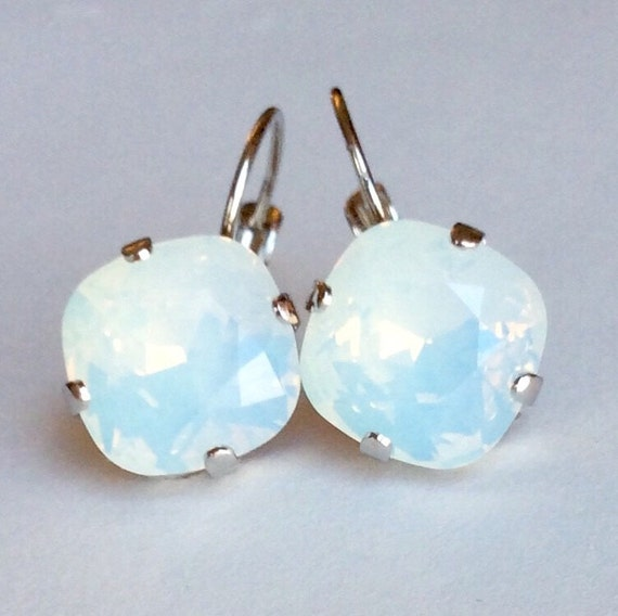 Swarovski Crystal 12MM Cushion Cut, Lever- Back Drop Earrings - Designer Inspired -  White Opals -  On SALE -  FREE SHIPPING