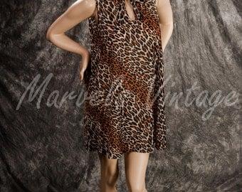 Vintage Vanity Fair Lingerie Leopard Print Short Nightgown Sleeveless Nylon Tricot Size Medium