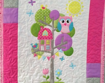 Owl Tree House Baby Quilt