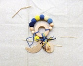 Baby teething ring dark blue night yellow rattle Waldorf toy with handmade moon pendant - choose your own