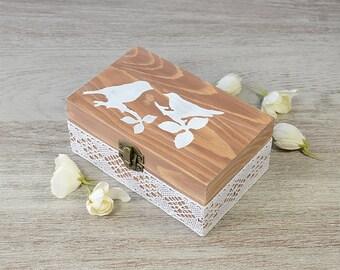 Rustic Lace Burlap wedding box, Ring Bearer Pillow, ring bearer box, Personalized Ring  Holder, Pillow Alternative , Engagement box