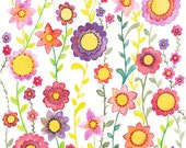 Wild flowers Card, Watercolour Flowers, Greetings Card, Colourful Birthday Card