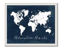 Navy Nursery Print, World Map Print, Travel Poster, Adventure Awaits, Travel Quote Print, Wanderlust, Nautical, Nursery Travel Print