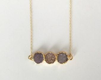 Three Circle Druzy Bar Necklace