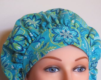 Blue, navy and lime Bouffant Surgical Hat