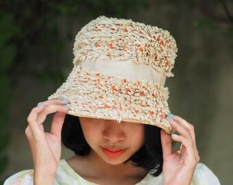 Vintage Hat, Vintage Womens Hat, 1960s Wide Brim Hat, Cloche Hat, Vintage Beige/Brown Hat, Vintage Straw Hat, Sears Millinery, Millinery