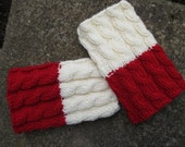 Sale 60% Hand knitted 2 ways to wear wool Women Boot cuffs Leg warmers Cable knit  White  Red