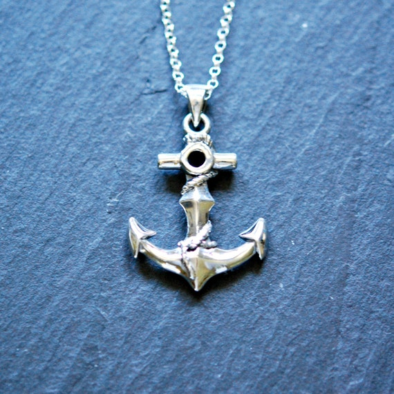 Silver anchor necklace - sterling anchor pendant - sailor unisex large anchor mens jewelry - ocean nautical jewelry - voyage