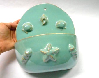 Pottery Wall Planter, Ceramic Wall Planter, Wall Planter, Pottery Planter, Ceramic Planter, Shell Wall  Planter in Turquoise