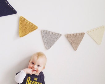 Bunting garland flags knitted handmade. To decorate your (nursery, baby, kids, maternity)room,party,cake smash photo shoot, birthday card.
