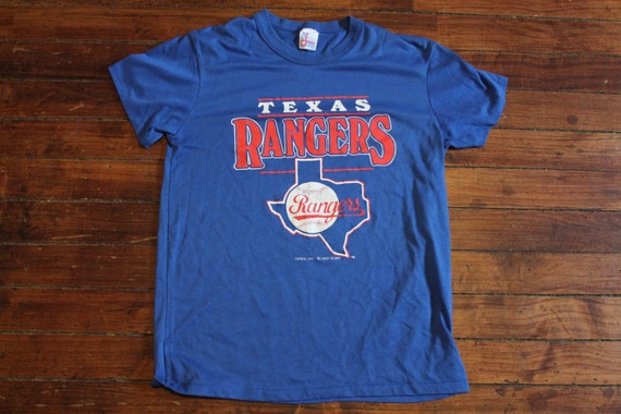Texas rangers shirt mlb baseball graphic tee tshirt blue 1988 for Texas baseball t shirt