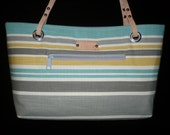 Small striped Purse, Canvas Bags, Purses with leather handles, Handmade, Shoulder bag, Nautical