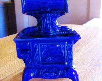 Ceramic Cobalt Blue Cookstove Decor