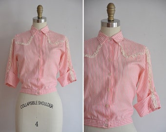 50s Spun Sugar blouse / vintage 1950s cotton blouse/ vintage candy stripe top