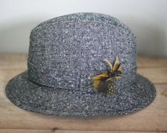 vintage brown and white tweed fedora