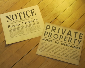 Two No Trespassers Signs / 1940's Paper Signs