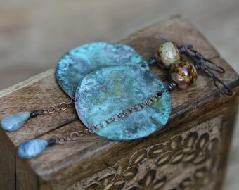 Sale Primitive Tribal *Sounds and Whispers* earrings -rustic, patina large disc,Aquamarine,copper,tribal,exotic,unusual,earthy,artisan