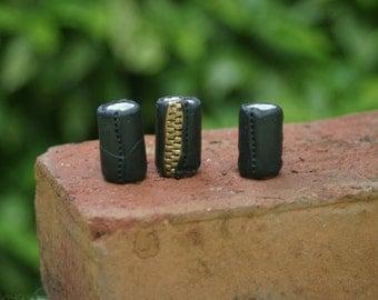 "Black ""Leather"" Dredlock Beads"