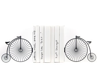 Metal Bookends - Penny - farthing bike // high wheel // high wheeler // ordinary bicycle book holders // housewarming gift // FREE SHIPPING