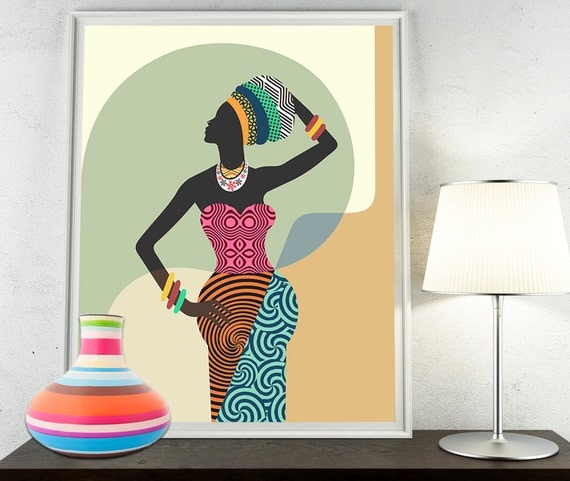 African woman african wall art african wall decor by iqstudio for African mural painting