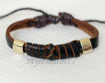 722 Men's brown leather bracelet men bracelet women bracelet Leather band bracelet  Wrapped bracelet Leather jewelry Gift For men & women