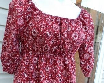 New handmade new bandana print peasant top for women/misses