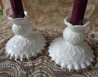 Fenton Milkglass Candlestick Holders Spanish Lace Silver Crest