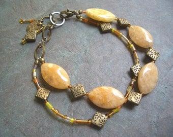 "Gold Jasper Bracelet / Oval / Stone / Double Strand / Antique Brass / Seed Beads / Charms / Orange - 8"" long - B68"