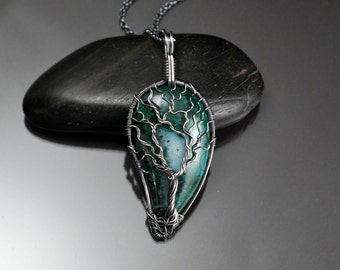 Chrysocolla Cabochon Antique Sterling Silver Tree of Life