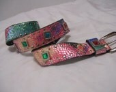 Metallic Fusion Of Colors Women's Belt Multi Colors of  Peach Green Pink Gold  Accented with Colored Stones