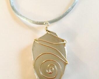 White seaglass with silver swirl pendant