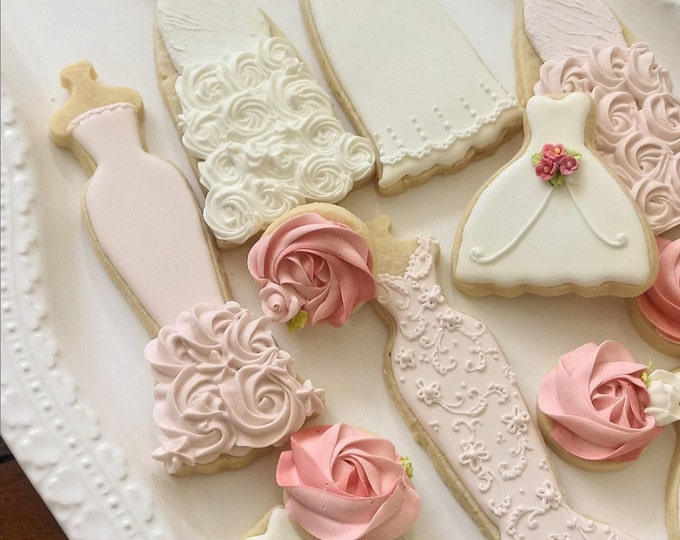 25 Pieces Blush / Lt Peach and Ivory Wedding Entourage Dress Cookies - Delivery by April 5.