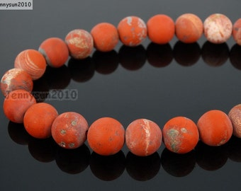 Natural Matte Red Jasper Frosted Gemstones 4mm 6mm 8mm 10mm 12mm Round Loose Spacer Beads 15'' Strand Jewelry Design