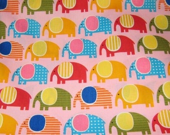 Pink Elephants  Cotton Fabric,  Pink Cotton Fabric, Animal Print Fabric, Polka Dots Cotton Fabric, Fabric By The Yard