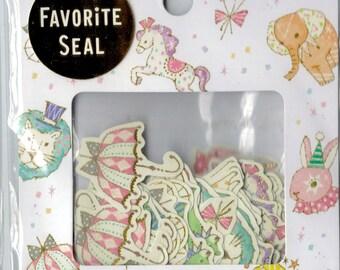 Kawaii Japan Sticker Flake Assort: 2015 Favorite Seal Series Whimsical Circus Pony Rabbit Lion Tent Balloons R