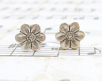 Forget-me-not - antique silver plated post earrings